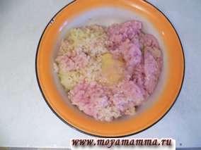 В фарш добавить яйцо, молоко, соль и перец по вкусу.
