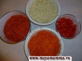 Лук мелко нарезать, морковь натереть на средней терке, перец нарезать маленькими кусочками, помидоры разрезать пополам и натереть на крупной терке (кожуру выбрасываем).