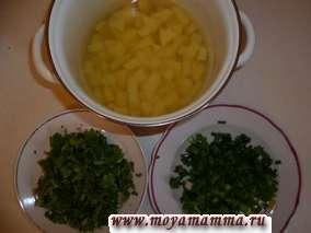картофель и зелень