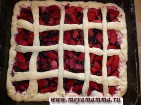 Делаем из оставшегося теста сетку для пирога. Даем пирогу время расстояться(около 30 минут).