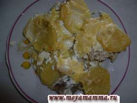 Рыба запеченная с картофелем в сметане