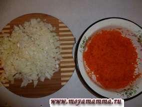 Лук порезать на мелкие кусочки, натереть морковь на средней терке.