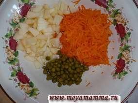 морковь, яблоко, зеленый горошек