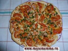 Рецепт пиццы из пресного теста.Пицца с колбасой и сыром из сметанного теста без дрожжей