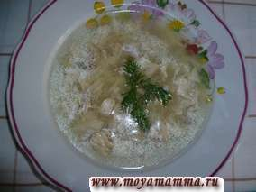 Луковый суп с курицей и чесноком