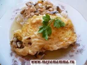 Курица с грибами под сыром в духовке