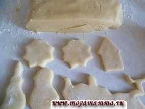 Постные коржики сахарные. Выемками вырезаем различные формы.