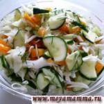 Салат из свежей капусты с огурцом перцем