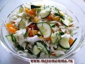 Салат из свежей капусты с огурцом и перцем