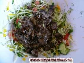 Салат из свежей капусты и грибов постный