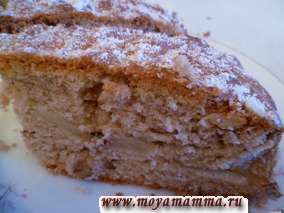 Пирог с грецкими орехами и яблоками