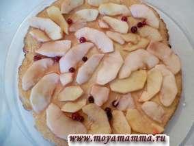 Торт с творогом и яблоками. Выпекаем коржи в нагретой до 180-190 градусов духовке до золотистого цвета (в течение 25 минут). Затем на корж раскладываем начинку, поливаем немного сиропом (образовавшимся при варке яблок).