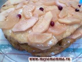 торт с творогом и яблоками слоеный