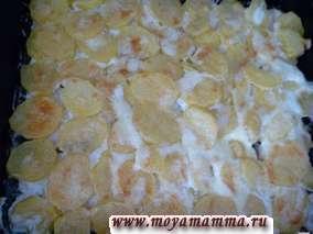 Запекаем филе курицы с луком и картофелем в нагретой до 180 градусов духовке до готовности (около 40-45 минут).