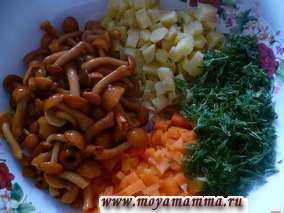 морковь, картофель, морковь, укроп
