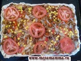 Рецепт пиццы из пресного теста.Помидор порезать кружочками и разложить равномерно. В разогретой до 200-220 градусов духовке выпекаем пиццу в течение 20 минут до золотистого цвета.