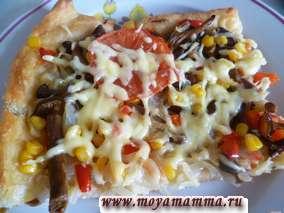 Рецепт пиццы из пресного теста.Пицца из слоеного теста с грибами