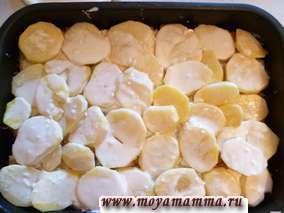 Далее раскладываем картофель. Посолить и поперчить по вкусу. Майонез развести небольшим количеством воды (1/5-1/4 стакана воды на 200 гр майонеза). Заливаем майонезом картофель.