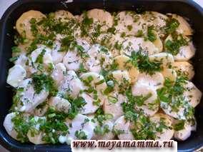 Рецепт филе трески запеченного с картофелем и зеленью