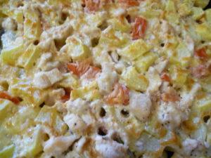 филе курицы запеченное с кабачками и помидорами