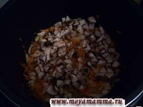 Грибы (например, шампиньоны) мелко порезать и добавить к моркови с луком. Пассеровать 4-5 минут.