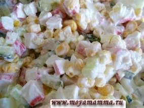 Пошаговый рецепт салата с крабовыми палочками
