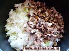 Лук порезать с грибами небольшими кусочками и обжарить в небольшом количестве растительного масла в мультиварке до того момента, как грибы потеряют в объеме на половину.