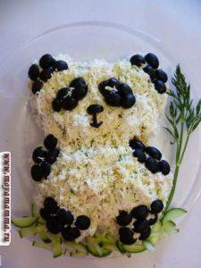 """Красивый и простой салат для детей """"Панда"""""""