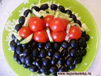 Украшение салатов. Корзина