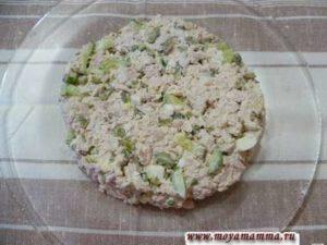 На плоскую тарелку выкладываем аккуратно салат в форме круга. Все неровности убираем при помощи влажной салфетки.