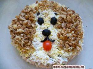 салат на детский день рождения Собачка