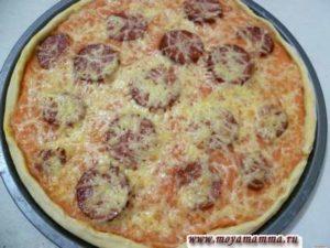 Рецепт пиццы из пресного теста.Пицца из пресного теста на воде с колбасой