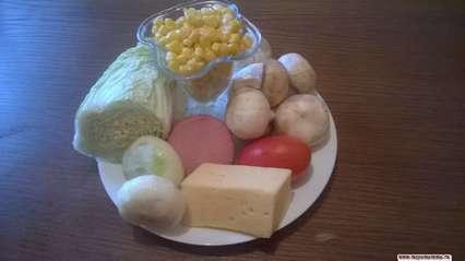 ингредиенты дл я салата с пекинской капустой и шампиньонаим