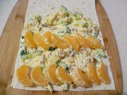 Начинка с дольками мандаринов для роллов из лаваша