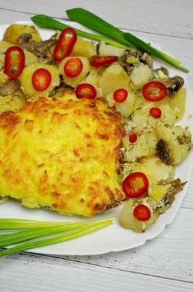 запеченная камбала с картофелем и сыром