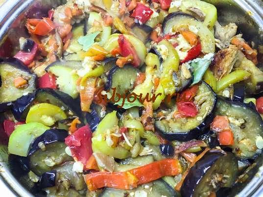 тушеная курица с овощами на сковороде