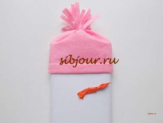 Как оформить шоколадку в подарок. Изготовление носа-морковки